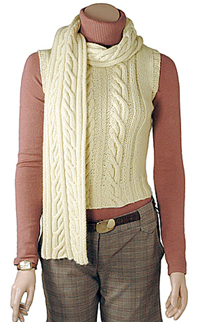 Aran Knit Vest and Scarf Pattern- free knitting patterns