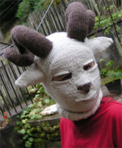 Knit sheep head costume